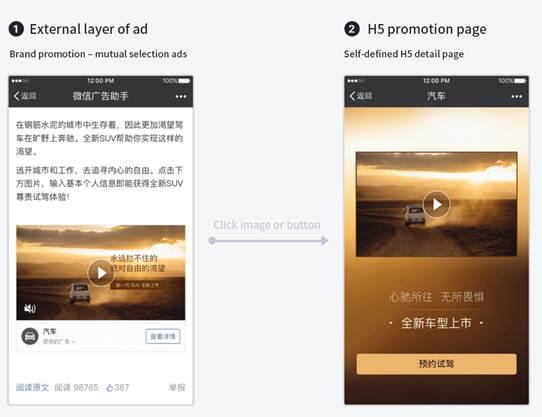publicité Wechat, emplacement de la publicité, Wechat