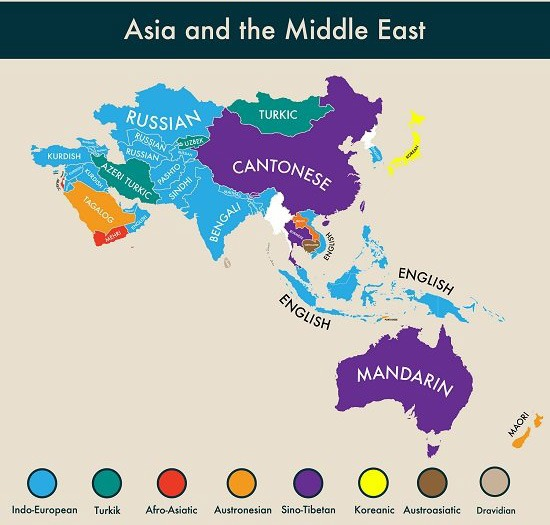 The second most spoken languages spoken around Asia and the Middle East